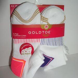 Gold Toe Big Girls' Six-Pack Cushion Liner Socks